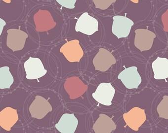 Autumnal Acorn Fabric - Acorn By Jenniferlabre - Purple Woodland Acorn Nursery Decor Cotton Fabric By The Yard With Spoonflower