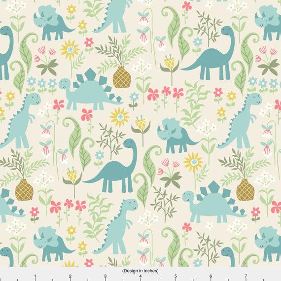 Dinosaur fabric dino garden by laura may dinosaur nursery for Girly dinosaur fabric