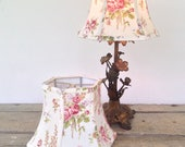 "French Cottage Lamp Shade, Small Lampshade, Cottage Look,  5""t x 8"" b x 6""high, hex bell, shabby chic and oh so pretty! Farmhouse Perfect!"