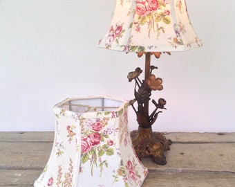 """French Cottage Lamp Shade, Small Lampshade, Cottage Look,  5""""t x 8"""" b x 6""""high, hex bell, shabby chic and oh so pretty! Farmhouse Perfect!"""