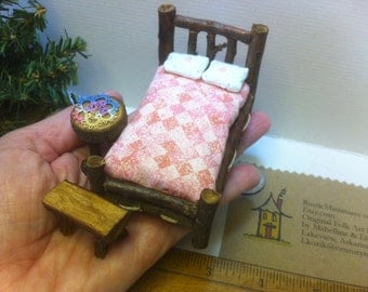 Half Inch Scale Set Rustic Miniature Dollhouse Furniture Log Cabin 7 pieces: Tatted Doily Bed Table Woodland Fairy Pink