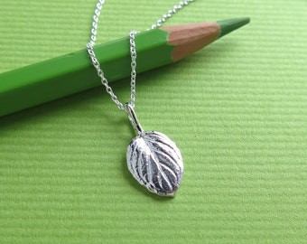 Candy Mint Leaf Pendant Necklace - Pure Silver Real Leaf Pendant, Herb Jewelry