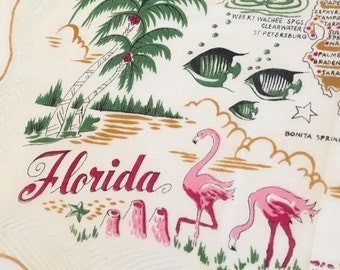 1950s Florida souvenir handkerchief hanky mustard yellow with pink flamingos and palms - mint with original tag