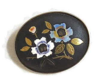 Vintage Enamel Flower Brooch with Blue & White and Gold Leaves