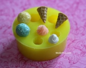 Resin Dollhouse Ice Cream Cone Mold Silicone Resin Decoden Mold Polymer Clay DIY Dollhouse Food Frosting Mold Ice Cream
