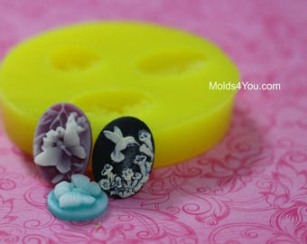 Butterfly Cameo Mold Hummingbird Mold Resin 18x25mm Cabochon Mold Fondant Chocolate Mold Polymer Clay Mold
