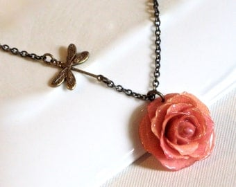 Real Pink Rose Necklace - Natural Preserved, Dragonfly, Brass, Floral Jewelry, Nature Jewelry