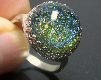 Green Haze Dichroic Space Galaxy 3D Glass Lampwork Adjustable Silver Ring