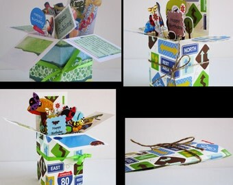 Handmade Birthday for men or anyone -pop up exploding box card- 1 Left -- Free ship USA