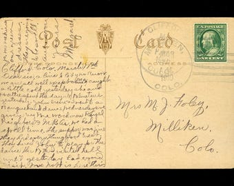 1910 Colorado DPO Clifford Milliken SE Stamp Lucky Irish Clover Postcard R71