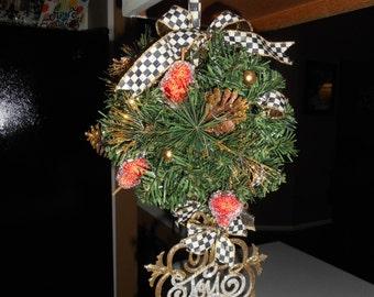 Pair of 2 Custom Christmas Kissing Balls with Mac Kenzie Child ribbon on them