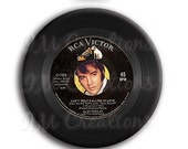 "20% OFF - Vinyl Record Elvis Pocket Mirror, Magnet or Pinback Button - Wedding Favors, Party themes - 2.25"" MR506"