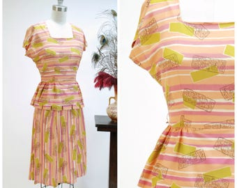 Vintage 1940s Dress - Fantastic Rayon Celanese Striped Print 40s Day Dress with Segmented Peplum in Peach, Orchid Pink and Chartreuse