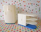 Vintage Mid Century Plasco Dollhouse Miniatures Kitchen Appliances White Plastic Refrigerator Cabinet