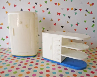 Vintage Mid Century Plasco Dollhouse Miniatures Kitchen Appliances White Plastic Refrigerator Cabinet