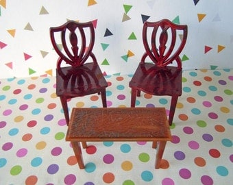 Vintage Dollhouse Miniatures Living Room Furniture Brown Chairs and Coffee Table