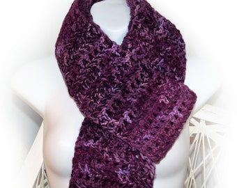 Extra Long Purple Scarf, Crocheted Scarf, Ladies Extra Long Scarf, Scarf with Fringe, Fashion Scarf, Scarf with Tassels, Ready to Ship