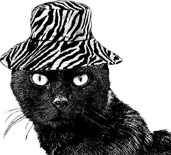 black cat in hat printable black and white wall art clipart PNG clip art Digital Image Download graphics animal pets living room bedroom art