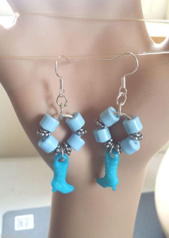 blue cowgirl earrings cowgirl boot charm dangles hoops beaded rodeo country western handmade jewelry