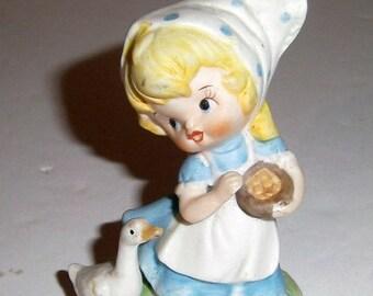 Blow Out Sale Vintage Little Dutch Girl Figurine - Girl with Goose - Porcelain Figurine - Vintage Figurine - Farm Girl - Farm Girl - Girls R