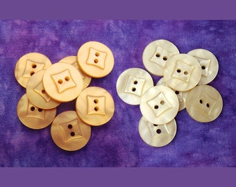 Yellow Sewing Buttons, 18mm 3/4 inch - CHOOSE Pastel, Gold Yellow - 8 VTG NOS Wacky Square Faceted Retro Luminescent Plastic Buttons PL278