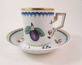 Vintage Richard Ginori Demitasse Cup and Saucer Set Italian Fruits Made in Italy Small Coffee or Espresso Cup and Saucer