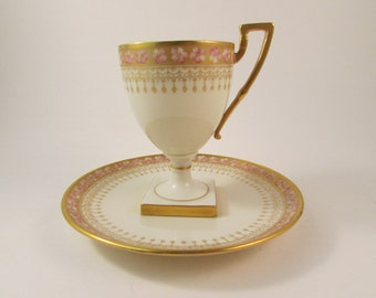 Antique Belleek Willets Footed Tea Cup and Saucer Hand Painted Gold Trim Pink Flowers 1879-1912 American Belleek Porcelain