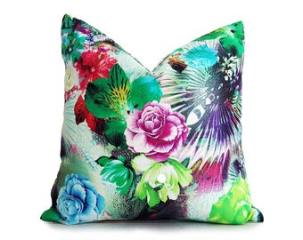 Colorful Floral Pillow Cover, Floral Throw Pillow Case, Pink Green Purple, Digital Print Pillow, Luxury Lined, 12x18 Lumbar, 16x16, 18x18