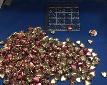 Vintage Pink Metal Heart Studs