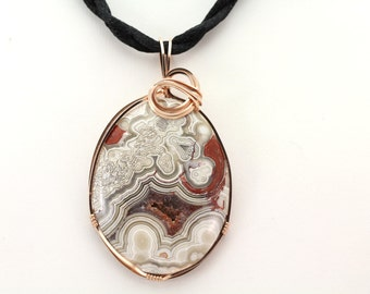 Lace Agate Pendant. Listing 496836347