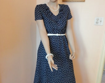 90's Navy Polka Dot Dress with Belt Sz 6