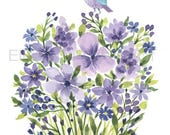 Watercolor Purple flowers and bird/ Watercolor wall art/ spring flowers/bird wall art/ botanical wall art/ mothers day gift