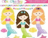 70% OFF SALE Mermaids Clipart Fish Seashell Starfish Clip Art Graphics for Girls Instant Download Commercial Use
