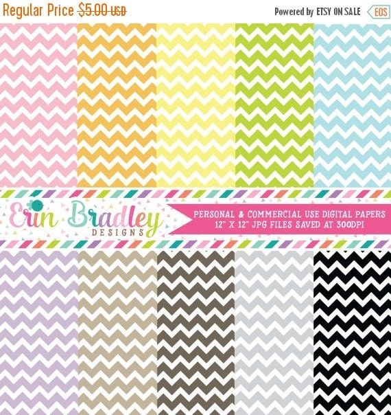 70% OFF SALE Digital Scrapbook Papers Personal and Commercial Use Chevron Stripes