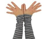 Arm Warmers in Grey Ombre - Striped Grey Cuffs