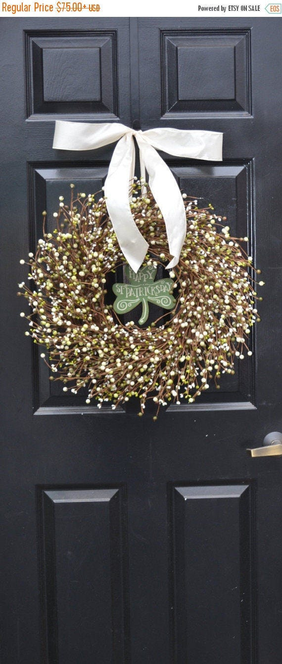 SPRING WREATH SALE St Patricks Day Wreath, Spring Decorations, Green Cream Berries, Berry Wreath, Spring Wreath, Easter Decor, Front Door De