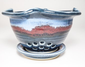 Strainer - Berry Colander - Ceramic Strainer - Berry Basket Clay - Berry Bowl - Berry Basket - Pottery Berry Bowl - Colander - In Stock