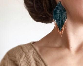 CUSTOM ORDER Two tone Handmade Bead Earrings Fringe Original Designs