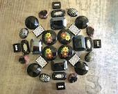 Huge Lot Black Glass Vintage Cabochons Four of Each Dark Beauty Assortment