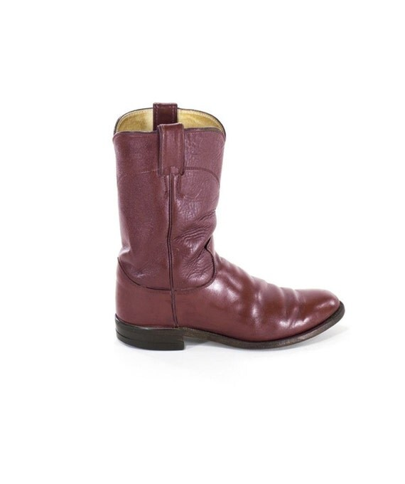 justin cowboy boots burgundy leather western boots mid calf
