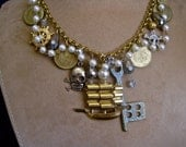 CUSTOM ORDER Pirate Ship Necklace with Pearls, Rhinestones and Skulls