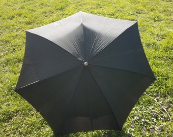 Black Umbrella with Wooden Handle and Vinyl Cover