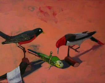 Original Oil Painting on Canvas Still Life Realism Birds Robin Parakeet Title Lost Thorn Painting By BobbieJansen On Etsy