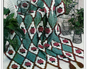 Crochet Afghan Diamonds and Roses Pattern - PDF