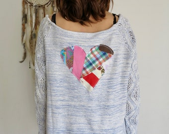 Bohemian Hippie Gypsy Patchwork Heart Cozy Knit Slouchy Drapey Layering Off The Shoulder Sweater Top Shirt Womens Size Large