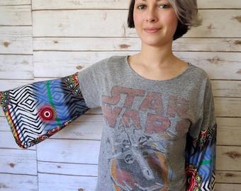 Star Wars Print Boho Off The Shoulder Upcycled Darth Vader Tshirt Top Shirt Womens Size Small