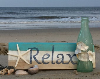 Relax beach sign starfish nautical beach home decor patio hot tub pool house lake cottage housewarming Outer Banks Beach House Dreams OBX