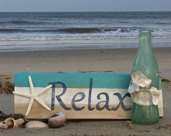 Relax Beach Sign Starfish Nautical Beach Home Decor Patio Hot