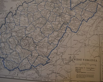 1934 State Map West Virginia - Vintage Antique Map Great for Framing