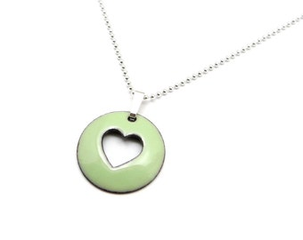Green Heart Necklace - Pastel Green Heart Pendant Necklace - Green Enamel Pendant